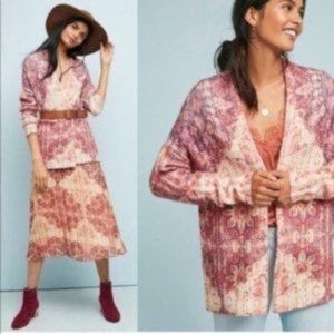 New! Anthropologie Floral Print Oversized Cardigan
